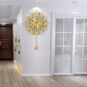 客厅创意钟表家用现代个性轻奢挂钟欧式艺术挂表卧室静音时钟挂墙
