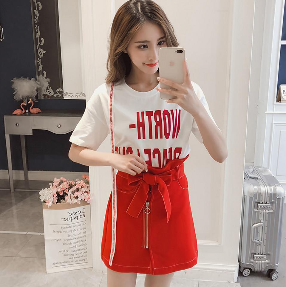 天猫女装新风尚2018夏季新款显高短袖T恤上衣气质半身裙两件套装