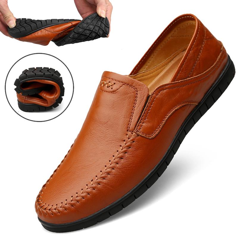 男士休闲鞋韩版潮流百搭懒人鞋真皮豆豆鞋男软底皮鞋一脚蹬男鞋潮