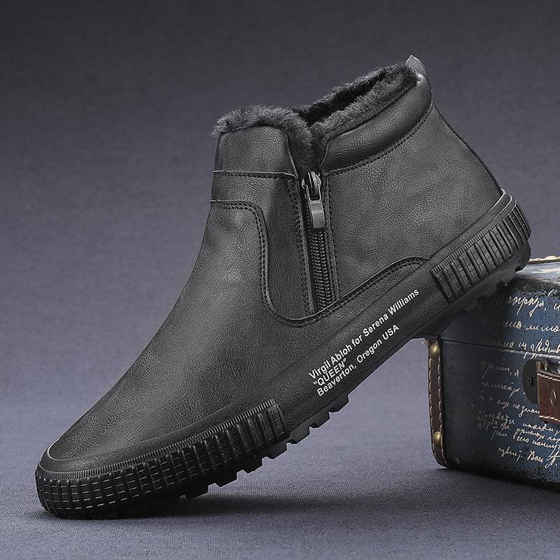 闪步男鞋冬季2019新款雪地靴男加绒保暖劳保短靴子东北加厚棉鞋潮