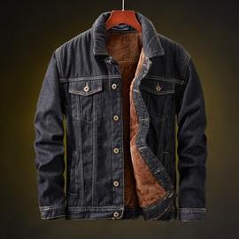 牛仔外套男加绒加厚韩版潮流冬季男士大码夹克黑色秋冬上衣羊羔绒