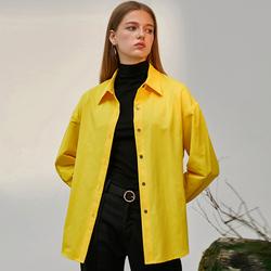 江疏影明星同款简约黄色衬衫女秋冬长袖百搭上衣ol气质上班族衬衣