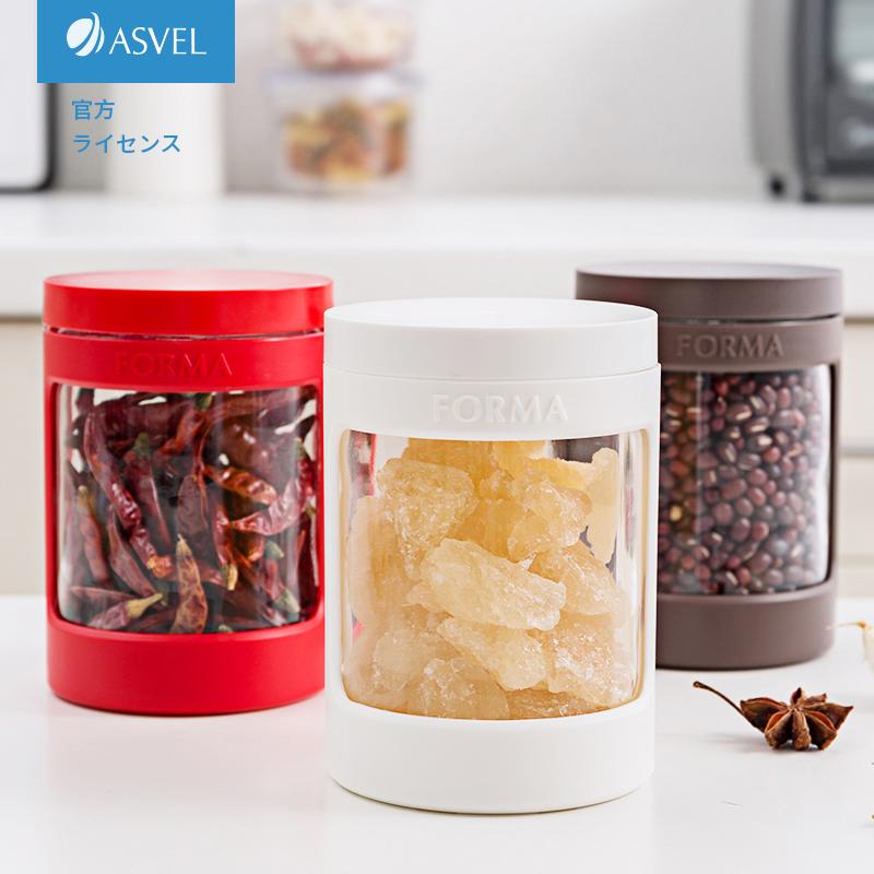 买三送一日本asvel玻璃调味料瓶 厨房家用盐罐防潮调料盒密封罐白糖调料罐