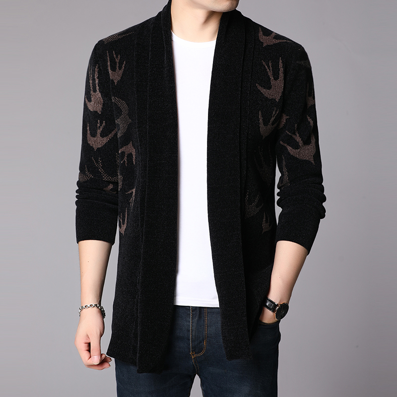 Spring and autumn thickened sweater coat men's cardigan Korean knitwear trend personality handsome medium length outerwear top