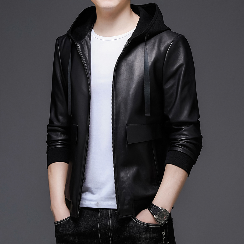 2021 spring Haining leather leather men's sheep leather jacket Korean handsome motorcycle men's trend hooded jacket