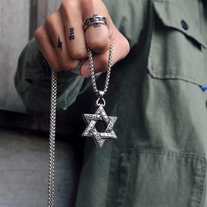 不掉色!六芒星吊坠欧美时尚学生情侣项坠个性钛钢男女士项链挂饰