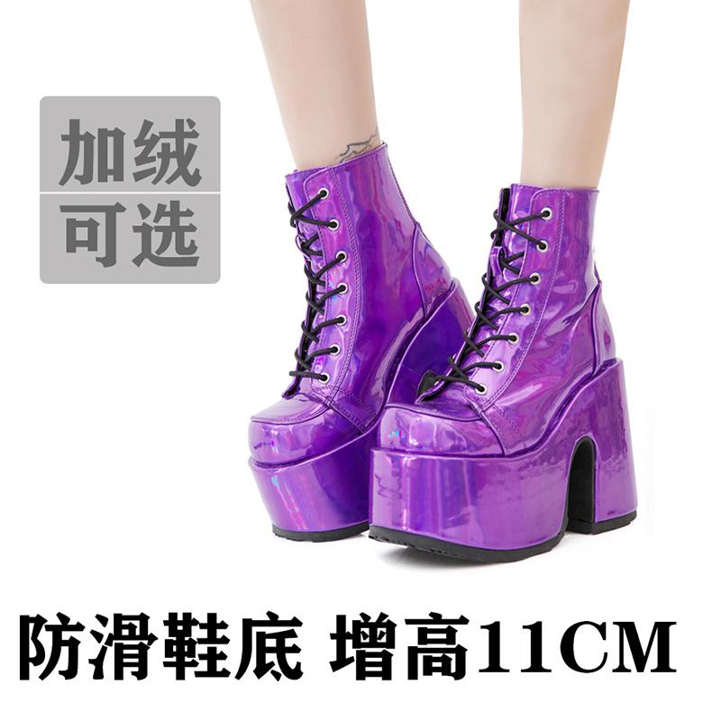 MOMO新款骑士靴女靴子厚底防水台高跟皮鞋女百搭粗高跟短靴女鞋