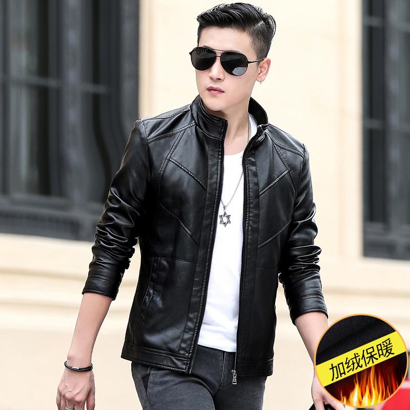 苏肯秋季新款男士加绒皮衣外套韩版修身小皮褂子机车PU青年皮夹克