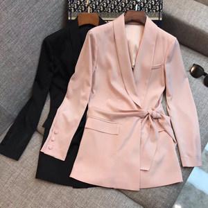 0402夏新款女装中长款外套腰系带纯色气质名媛欧美街头百搭精品