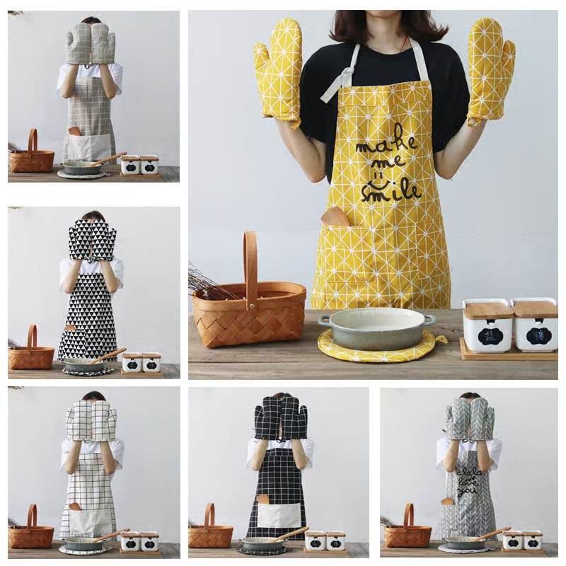 日式棉麻成人厨房围裙 咖啡馆画室面包店男女工作时尚围裙