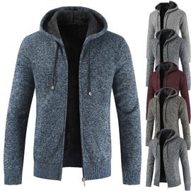 秋冬新款男士毛衣立领加绒加厚开衫中青年秋装外套潮流帅气夹克衫