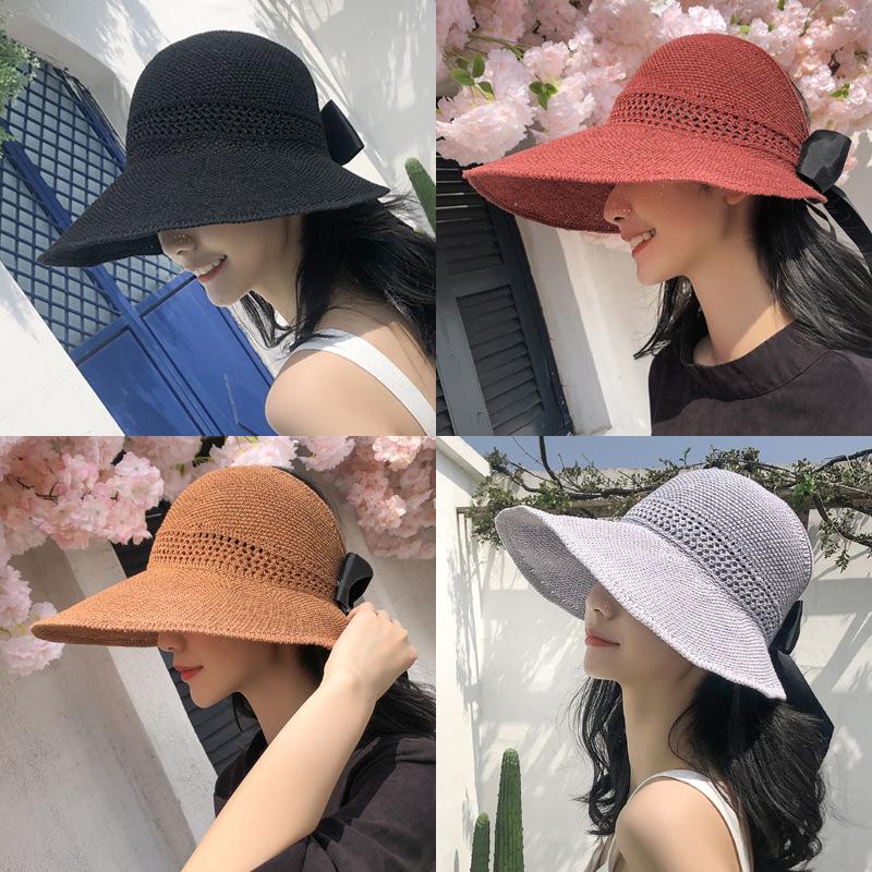 韩国卷卷遮阳帽子女夏天防紫外线韩版太阳沙滩防晒帽空顶凉帽图片