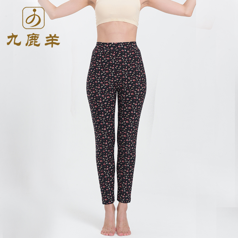 Jiulu sheep cotton pants wool thermal pants middle aged and elderly mothers with high waisted and thickened outer wear 18-6235