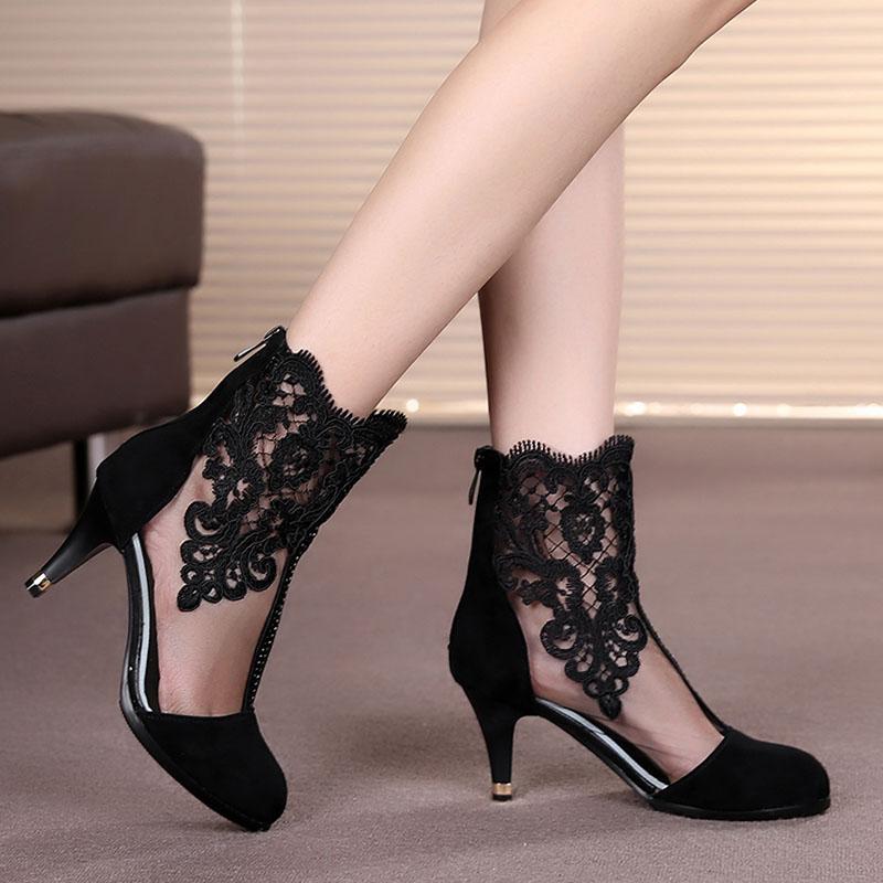 2020新款网靴细跟女靴春季女鞋真皮镂空42蕾丝高跟大码女短靴41码图片