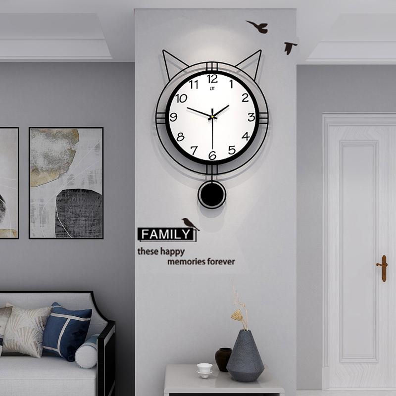 猫咪钟表挂钟客厅北欧创意可爱现代简约个性挂表家用时尚时钟挂墙