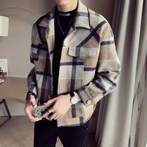 2019秋冬季新款风衣男短款宽松毛呢大衣韩版潮流帅气呢子夹克外套