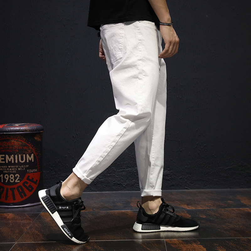 Summer nine points jeans men's loose large size white casual handsome wild harem pants trend small troupe pants