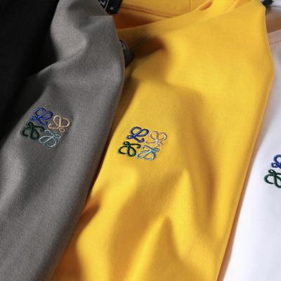 20夏季新款简约高品质丝光棉男士刺绣短袖t恤灰2031-2096-P55