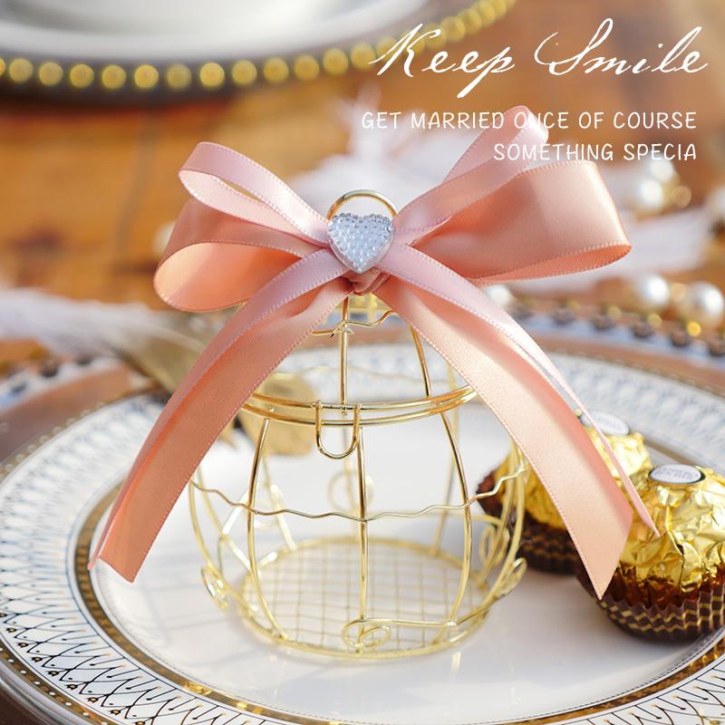 个性创意婚庆用品唯美糖果盒婚礼铃铛喜糖盒欧式盒子马口铁鸟笼