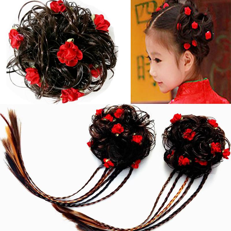 韩国宝宝可爱儿童假发女童卷发唐装发夹丸子头发圈假发表演头饰
