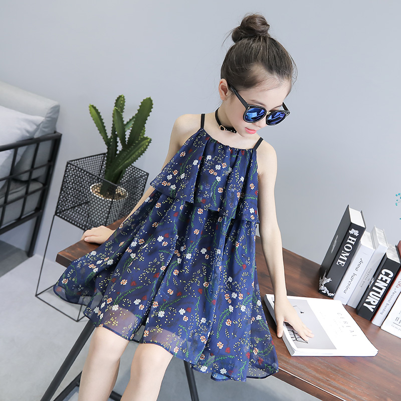 2017 летний костюм новый корейский цветочный платье девочки юбка ребенок шифон юбка платье принцессы сын
