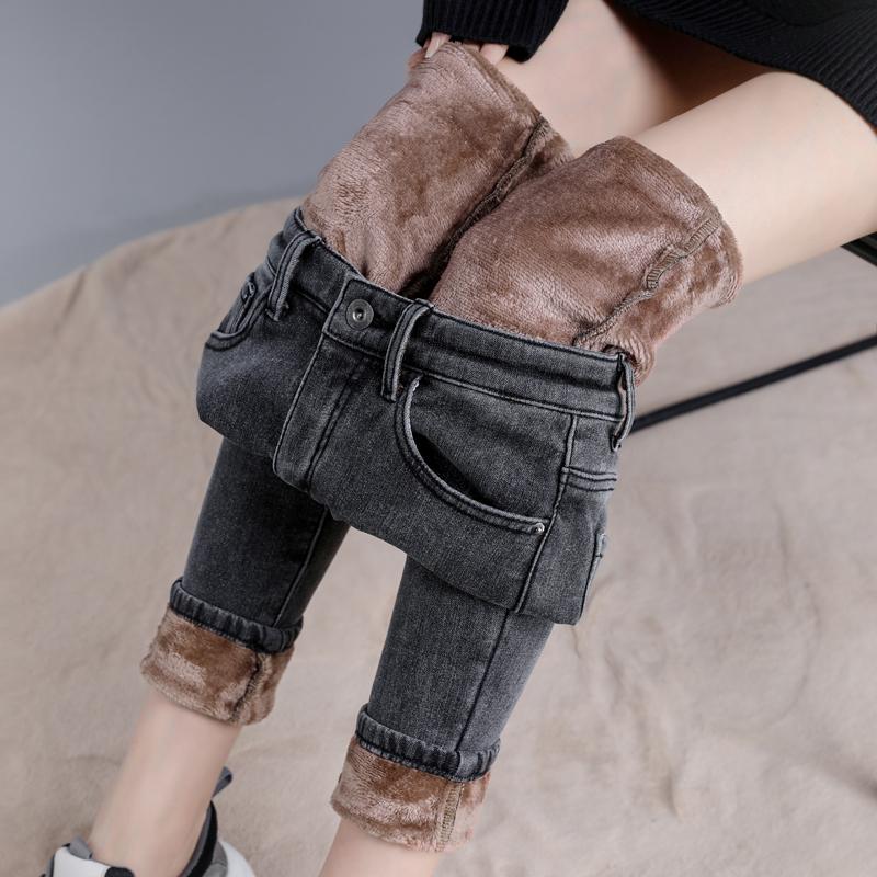 加绒加厚高腰带绒外穿一体绒牛仔裤质量如何