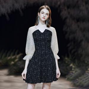 小礼服2021新款平时可穿气质宴会黑色法式短款生日约会连衣裙日常