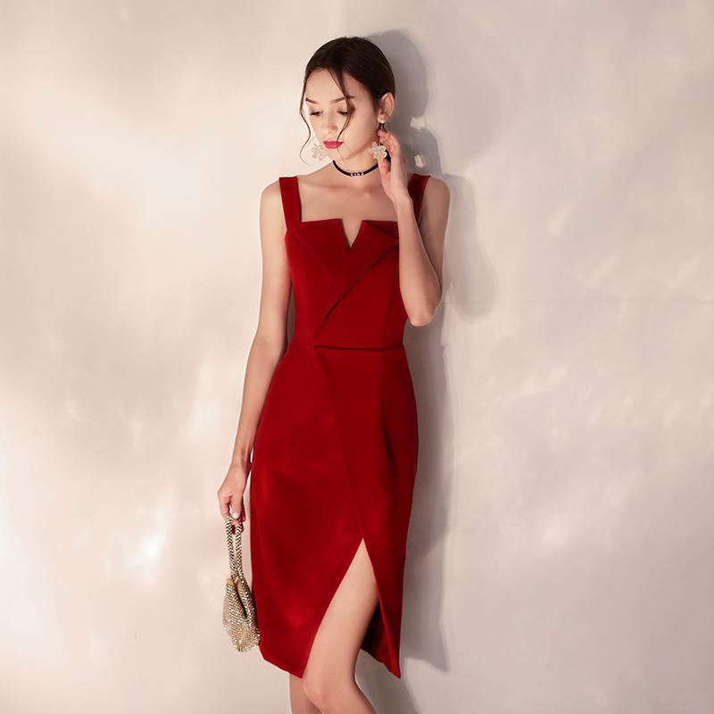 敬酒服平时可穿2019秋款小个子新娘结婚礼服女短款红色连衣裙吊带