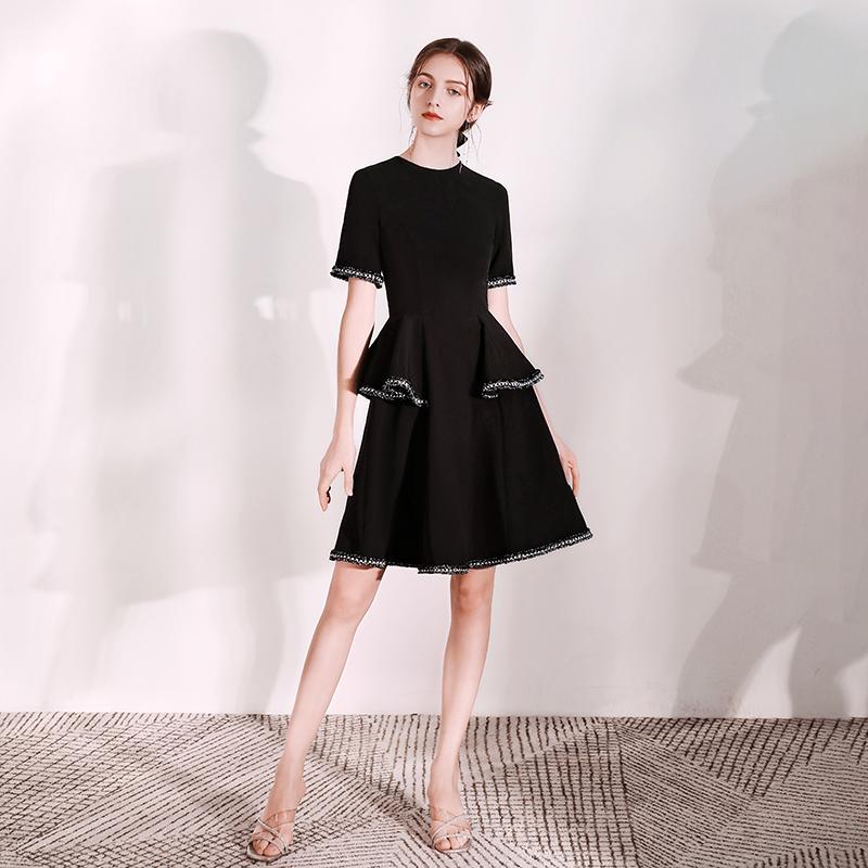 派对小晚礼服裙女2021新款平时可穿黑色名媛宴会短款小香风连衣裙