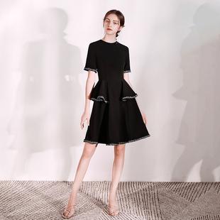 派对小晚礼服裙女2021新款 平时可穿黑色名媛宴会短款 小香风连衣裙
