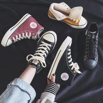 人本加绒帆布鞋女2019冬季新款百搭加厚鞋子保暖冬鞋高帮学生棉鞋