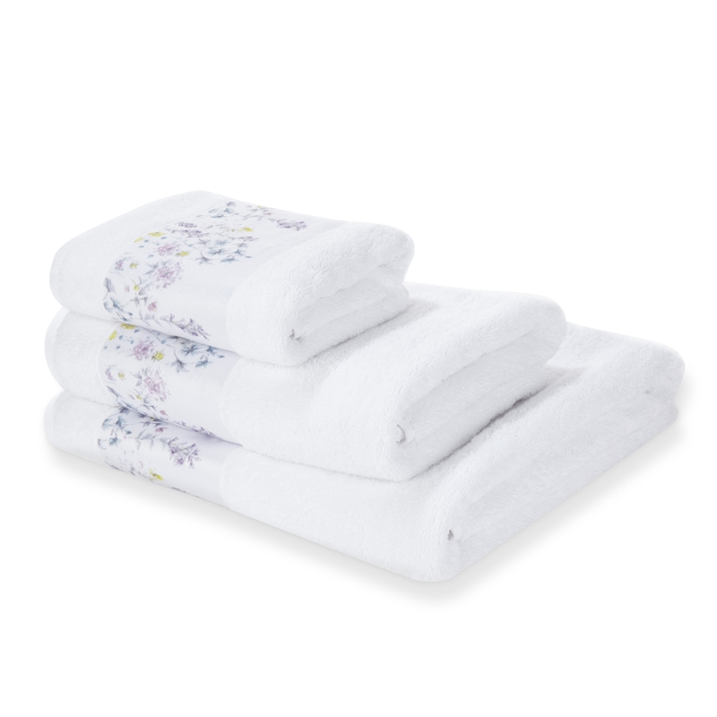 Laura Ashley Roland love field printed white wool bath towel 3-piece set imported pure cotton towel