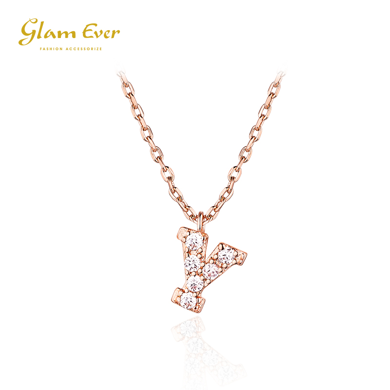 Glam Ever小众设计网红女ins英文26小字母项链玫瑰金色吊坠锁骨链