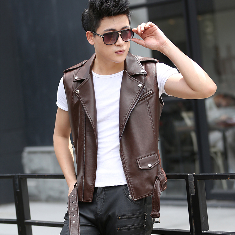 2020 spring and autumn new mens Vest leather jacket short sleeve slim fit sleeveless mens Leather Vest motorcycle jacket trend