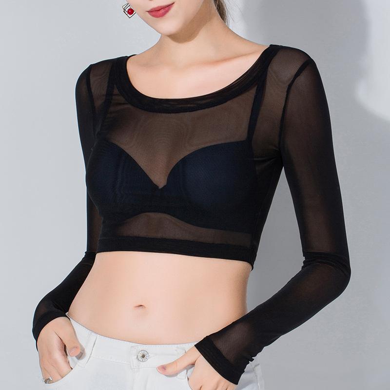 网纱夏季长袖t恤黑色透明打底衫
