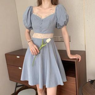 桃可了方領復古法式連衣裙夏刺繡拼接泡泡袖宮廷風奶油藍公主裙