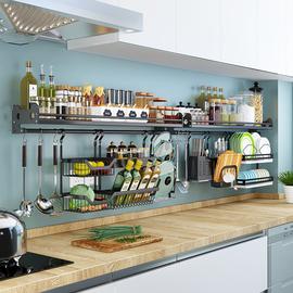 黑色厨房置物架壁挂式304不锈钢调味料架碗碟收纳架挂架挂件套餐图片