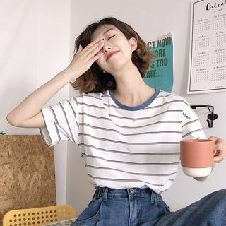 学院条纹T恤女短袖 2020新款ins女装春夏装韩版宽松学生休闲上衣