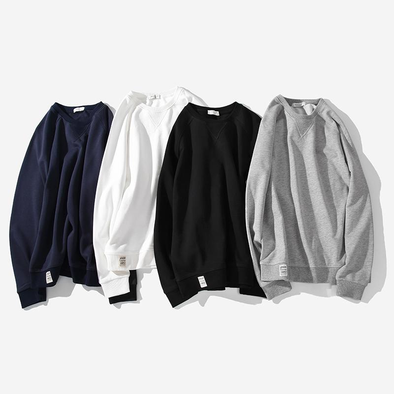 340g重磅圆领卫衣男春秋季纯色白色潮宽松加绒男士长袖打底衫