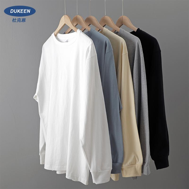 重磅长袖t恤 男纯棉厚实宽松潮纯色白色春秋季卫衣日系圆领打底衫