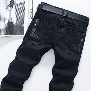 秋季男士黑色牛仔裤男韩版修身弹力长裤子青年学生大码显瘦小脚裤