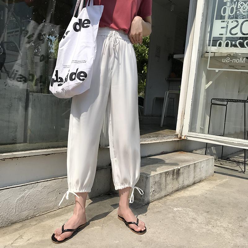 高腰香槟色垂感2019新款夏季阔腿裤10-23新券