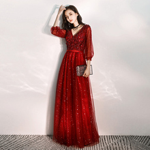 Pregnant women toast bride 2019 winter large wine red long sleeve wedding evening dress skirt women's long back