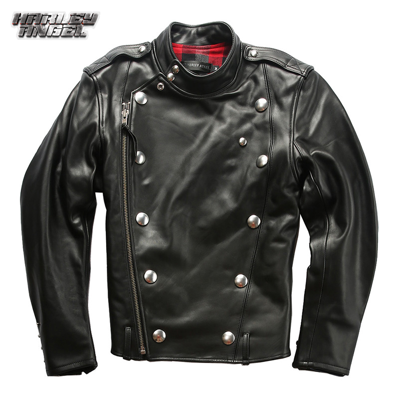 Halley angel fall and winter best selling leather jacket mens inclined zipper metal button J31 locomotive leather jacket