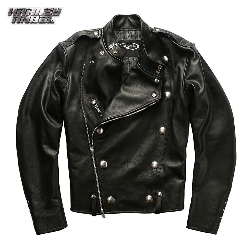 Halley Angel leather jacket double row button stand collar inclined zipper motorcycle leather jacket J31 leather coat