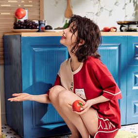 2020新款潮睡衣女士夏季薄款短袖纯棉两件套装大码胖mm夏天家居服