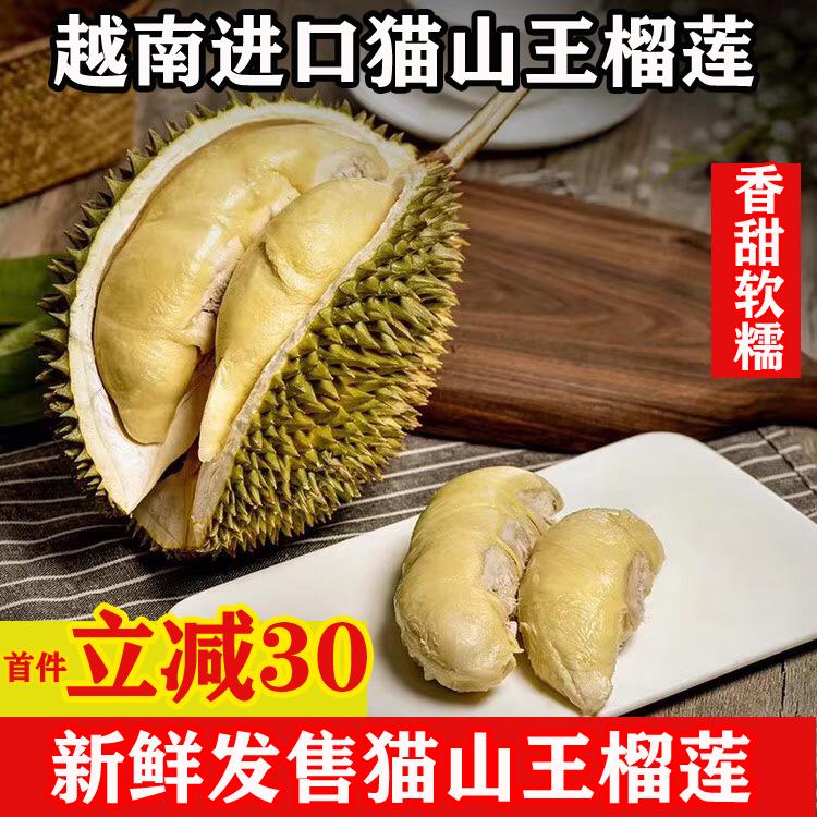 正宗猫山榴莲5-7斤热带水果新鲜榴莲越南品种非金枕干尧整箱包邮