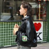 短外套 女春秋款 AlikeUnlike 港风印花帅气超软黑色PU皮衣夹克衫