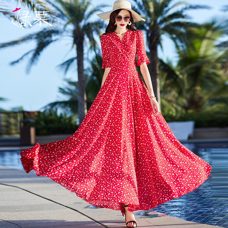 法式长裙女夏2020新款雪纺碎花连衣裙子收腰显瘦到脚踝大摆长裙子