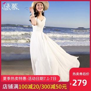 绿慕沙滩裙女夏2020新款 显瘦波西米亚海边度假雪纺长裙连衣裙 大码
